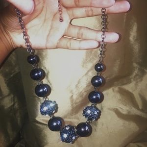 Deep Gray(almost black) pearl and diamond necklace